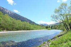 A Kamikochi at Nagano prefecture is the most beautiful natural. stock photo
