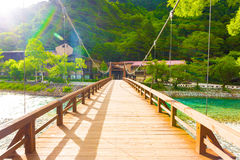 Kamikochi Opposite Bank Kappa-Bashi Bridge Deck H Royalty Free Stock Photo