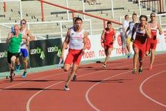 Kamil Masztak - 100 meters relais Royalty-vrije Stock Afbeeldingen