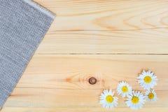 Kamille op houten achtergrond met exemplaarruimte Stock Afbeelding