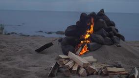 Kamin auf dem Strand stock footage