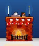 Kamin auf Weihnachten und neuem Jahr Stockfoto