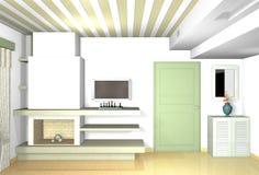 Kamin im Wohnzimmer mit traditionellen Materialien in den modernen Formen Lizenzfreie Stockfotografie