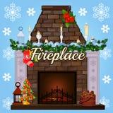 Kamin mit Baum, Geschenksocken und Kerzen vektor abbildung