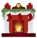 Kamin mit Weihnachtsdekorations-Illustration Stockfotografie