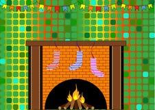 Kamin mit Weihnachtssocken Stockbilder
