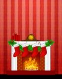 Kamin-Weihnachtsdekoration-Strumpf-Tapete Lizenzfreies Stockfoto