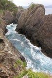Kaminariiwa Felsen und Ranboya sättigen sich in Goishi-Küste stockfotografie