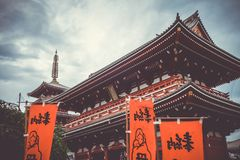 Kaminarimon gate and pagoda in Senso-ji temple, Tokyo, Japan Stock Image