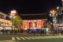 Kaminarimon på Sensojien Tempel i Asakusa, Tokyo på natten Royaltyfri Fotografi