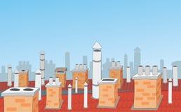 Kamine auf den Dächern von Stadthäusern Stockbild