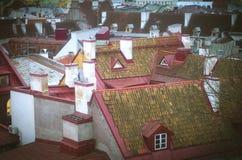 Kamine und Dächer von alten Häusern, Estland Stockfotografie
