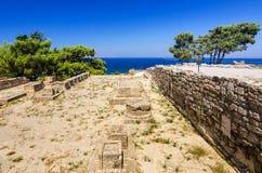 Kamiros ruins with sea view Stock Image