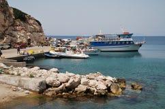 Kamiros Skala port, Rhodes fotografia royalty free