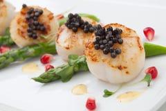 Kamm-Muscheln und schwarzer Kaviar Stockbilder
