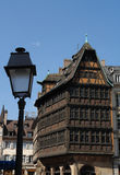 Kammerzell House. Pictoresque medieval Kammerzell house is situated next to the ancient cathedral at Strasbourg in the Alsace region of France. Founded in 1427 Royalty Free Stock Photo
