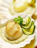 Kammusslor tjänade som i ett kammusslaskal med zucchinin Royaltyfria Bilder