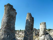 Kamni de piedra de Pobiti del bosque en Bulgaria imagenes de archivo