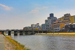 Kamo-gawa river in Kyoto, Japan Stock Photos