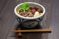 Kamo nanban soba, buckwheat noodles with duck and leeks Royalty Free Stock Photo