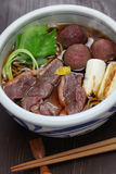 Kamo nanban soba, buckwheat noodles with duck and leeks Royalty Free Stock Images