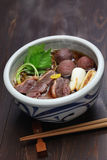 Kamo nanban soba, buckwheat noodles with duck and leeks Stock Photography