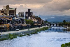 Kamo river in the center of Kyoto in autumn Stock Photography