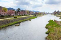 Kamo river in Kyoto Royalty Free Stock Image