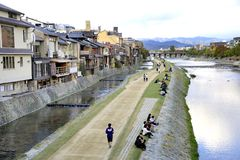 Kamo riverside in Kyoto Royalty Free Stock Images