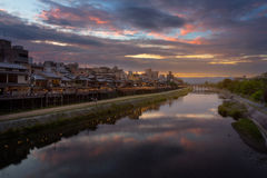 Kamogawa river nearby Gion in sunset Stock Photos