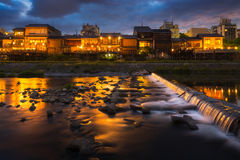 Kamogawa river nearby Gion in sunset Royalty Free Stock Photo