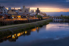 Kamogawa river nearby Gion in sunset Royalty Free Stock Photos