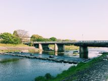 Kamogawa river. Take the photo in Kyoto on 30 th Apr,2017 Stock Photos