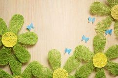 Kamomillar och fjärilar fotografering för bildbyråer