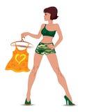 kamouflage beklär den sexiga flickan Royaltyfri Bild