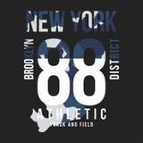 Kamouflagetypografi för t-skjorta tryck New York universitet, idrotts- t-skjorta diagram stock illustrationer