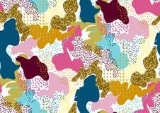 Kamouflera den sömlösa modellen i skuggor av rosa färger, guling, guld blänker, slösar, röda färger Arkivbilder