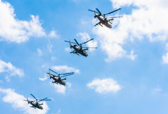 4 Kamov Κα-52 σαν αλλιγάτορας επιθετικό ελικόπτερο Στοκ φωτογραφίες με δικαίωμα ελεύθερης χρήσης