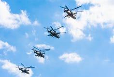 4 Kamov Ka-52 Krokodilleaanvalshelikopter Royalty-vrije Stock Foto's