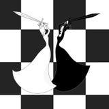 Kamp av schackQueens Den vita drottningen är den borttappade a-schackmatchen V Royaltyfri Bild