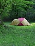 Kamp in de zomerbos royalty-vrije stock afbeelding