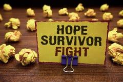 Kamp för överlevande för hopp för handskrifttexthandstil Begreppsbetydelseställningen mot din sjukdom är kämpepinnen till klibbig stock illustrationer