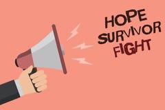 Kamp för överlevande för hopp för ordhandstiltext Affärsidéen för ställning mot din sjukdom är kämpen som pinnen till drömmar fra royaltyfri illustrationer