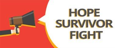Kamp för överlevande för hopp för ordhandstiltext Affärsidéen för ställning mot din sjukdom är kämpepinnen till åtskilliga linjer stock illustrationer