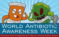 Kamp mellan toppna bakterier och medicin i den antibiotiska medvetenhetdagen, vektorillustration Royaltyfri Foto