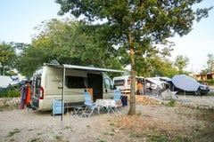 Kamp Njivice op eiland Krk Stock Fotografie