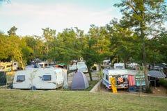 Kamp Njivice op eiland Krk Stock Afbeeldingen