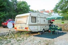 Kamp Njivice op eiland Krk Stock Foto