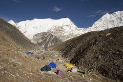 Kamp van de Basis van het eiland het Piek - Nepal royalty-vrije stock foto