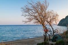 Kamp van fietsers op de kust royalty-vrije stock foto's